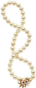 Estate Jewelry:Necklaces, Cultured Pearl, Diamond, Ruby, Gold Necklace. ...