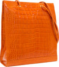 "Luxury Accessories:Bags, Fendi Shiny Orange Crocodile Tote Bag. Excellent Condition.13.5"" Width x 15.5"" Height x 3.5"" Depth. CITES c..."