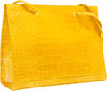 """Luxury Accessories:Bags, Fendi Shiny Yellow Crocodile Tote Bag. Excellent Condition.13.5"""" Width x 10.5"""" Height x 3.5"""" Depth. CITEScompl..."""