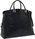 "Luxury Accessories:Bags, Fendi Black Shiny Crocodile Tote Bag. Excellent Condition.17"" Width x 13"" Height x 7"" Depth. CITES compliancea..."