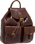 """Luxury Accessories:Bags, Fendi Brown Alligator Backpack. Very Good Condition. 11"""" Width x 15"""" Height x 5"""" Depth. CITES compliance applies..."""