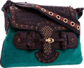 "Luxury Accessories:Bags, Gucci Limited Edition Turquoise Velvet and Crocodile Runway Bag.Very Good Condition. 12"" Width x 8.5"" Height x .75""D..."