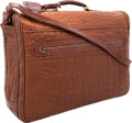"Luxury Accessories:Travel/Trunks, Brioni Brown Leather & Crocodile Travel Bag . Excellent Condition. 21"" Width x 16"" Height x 6"" Depth. CITES comp..."