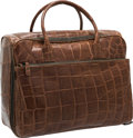 "Luxury Accessories:Travel/Trunks, Tardini Brown Crocodile Travel Bag. Very Good to ExcellentCondition. 16"" Width x 13"" Height x 9"" Depth. CITESc..."