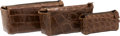 "Luxury Accessories:Bags, Tardini Set Of Three; Brown Alligator Toiletry Travel Bags. VeryGood Condition. 10"" Width x 6"" Height x 5"" Depth. ...(Total: 3 Items)"