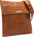 "Luxury Accessories:Bags, Trussardi Brown Crocodile Shoulder Bag. Very Good Condition.12"" Width x 13"" Height x .5"" Depth. CITEScomplianc..."