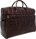 "Luxury Accessories:Travel/Trunks, Tardini Dark Brown Crocodile Travel Bag. Very GoodCondition. 21"" Width x 15"" Height x 9"" Depth. CITEScomplianc..."
