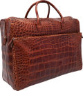 "Luxury Accessories:Travel/Trunks, Tardini Brown Crocodile Travel Bag. Very Good to ExcellentCondition. 20"" Width x 16"" Height x 9"" Depth. CITESc..."