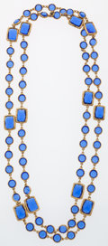 Luxury Accessories:Accessories, Chanel Sapphire Crystal & Gold Sautoir Necklace. ...