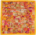 "Luxury Accessories:Accessories, Hermes 90cm Orange ""Tout en Quilt,"" by Cathy Latham-Audibert SilkScarf. ..."