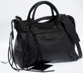 Luxury Accessories:Bags, Balenciaga Black Leather Motocross Velo Brogues Bag . ...