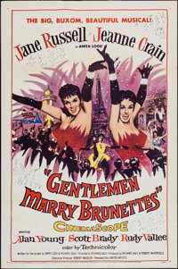 "Gentlemen Marry Brunettes (United Artists, 1955). One Sheet (27"" X 41""). Musical"