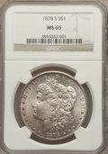Morgan Dollars: , 1878-S $1 MS65 NGC. NGC Census: (4080/525). PCGS Population (3890/668). Mintage: 9,774,000. Numismedia Wsl. Price for probl...