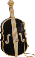 "Luxury Accessories:Bags, Judith Leiber Full Bead Black & Silver Crystal Cello MinaudiereEvening Bag . Very Good to Excellent Condition . 7.5""..."