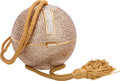 "Luxury Accessories:Bags, Judith Leiber Full Bead Gold Crystal Sphere Minaudiere Evening Bag.Excellent Condition. 3.5"" Width x 3.5"" Height x 3...."