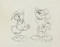 Animation Art:Production Drawing, Mickey's Trailer Mickey Mouse and Donald Duck ProductionDrawing (Walt Disney, 1938)....