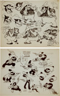 animation art:Model Sheet, Two Gun Mickey Model Sheet Group (Disney, 1934).... (Total:2 Items)