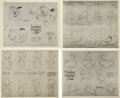 animation art:Model Sheet, Wynken Blinken and Nod Model Sheet Group (Disney, 1938)....(Total: 4 Items)