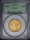Liberty Eagles: , 1854 $10 XF45 PCGS. PCGS Population (23/48). NGC Census: (39/133).Mintage: 54,250. Numismedia Wsl. Price: $474.(#8613)...