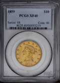 Liberty Eagles: , 1859 $10 XF40 PCGS. PCGS Population (20/55). NGC Census: (13/116).Mintage: 16,093. Numismedia Wsl. Price: $650.(#8628)...