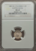Colombia, Colombia: Republic 2 1/2 Centavos 1881-W MS65 NGC,...