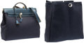 "Luxury Accessories:Bags, Hermes Blue Marine Vache Leather & Canvas Herbag Shoulder Bag.Very Good Condition. 14"" Width x 13"" Height x 5""Depth..."