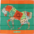 "Luxury Accessories:Accessories, Hermes 90cm Orange & Green "" A Cheval Sur Mon Carre,"" by BaliBarret Silk Scarf. Pristine Condition. 36"" Width x 36""L..."