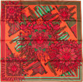 "Luxury Accessories:Accessories, Hermes 90cm Red & Green ""Les Sangles des Phoebus,"" by JoachimMetz Silk Scarf. Pristine Condition. 36"" Width x 36""Len..."