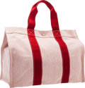 """Luxury Accessories:Bags, Hermes Rouge H Canvas Fourre Tout GM Bag with Palladium Hardware.Very Good to Excellent Condition. 19"""" Width x 14""""He..."""