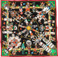"Luxury Accessories:Accessories, Hermes 90cm Black ""Kachinas,"" by Kermit Oliver Silk Scarf. Pristine Condition. 36"" Width x 36"" Length. ..."