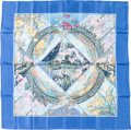"Luxury Accessories:Accessories, Hermes 90cm Blue ""Giverny,"" by Laurence Bourthoumieux Silk Scarf.Pristine Condition. 36"" Width x 36"" Length. ..."