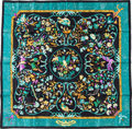 "Luxury Accessories:Accessories, Hermes 90cm Blue & Black ""Pierres d'Orient et d'Occident,"" by Zoé Pauwels Silk Scarf. Pristine Condition. 36""Width x..."