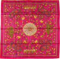 "Luxury Accessories:Accessories, Hermes 90cm Pink ""Carre Kantha,"" Silk Scarf. PristineCondition. 36"" Width x 36"" Length. ..."