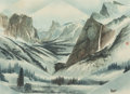 Works on Paper, DAVID LAM (Chinese, 20th Century). Yosemite with Duck. Watercolor on canvas. 21-1/4 x 29-3/8 inches (54.0 x 74.6 cm) (si...