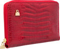 "Luxury Accessories:Accessories, Judith Leiber Red Crocodile Wallet with Gold Hardware. ExcellentCondition. 8"" Width x 5"" Height x 1"" Depth . C..."