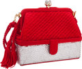 """Luxury Accessories:Bags, Judith Leiber Half Bead Silver Crystal & Red Satin Evening Bagwith Tassels. Excellent Condition. 6"""" Width x 5""""Height..."""