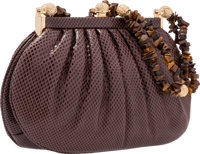 "Judith Leiber Brown Lizard Clutch Bag with Tiger Eye Handle Excellent Condition 8"" Width x 5"" He"