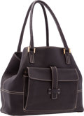 """Luxury Accessories:Bags, Loro Piana Brown Leather Globe Tote Bag with Brushed Gold Hardware.Very Good to Excellent Condition. 13"""" Length x 10""""..."""