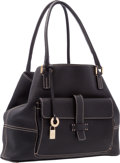 """Luxury Accessories:Bags, Loro Piana Black Leather Globe Tote Bag with Gold Hardware. VeryGood Condition. 13"""" Length x 10"""" Height x 5"""" Depth..."""