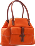 """Luxury Accessories:Bags, Loro Piana Orange Canvas & Brown Leather Globe Tote Bag withGold Hardware. Very Good Condition. 11"""" Length x 8""""Heigh..."""
