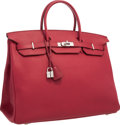 "Luxury Accessories:Bags, Hermes 40cm Rubis Togo Leather Birkin Bag with Palladium Hardware.Excellent Condition. 15.5"" Width x 11"" Height x 8""..."