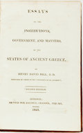 Books:World History, Hill, Henry David. Essays on the Institutions, Government, and Manners, of the States of Ancient Greece. Second E...