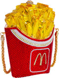 Luxury Accessories:Bags, Kathrine Baumann Limited Edition Full Bead Red Crystal McDonald'sFrench Fries Minaudiere Evening Bag. Very Good Condition...
