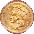 Three Dollar Gold Pieces, 1880 $3 MS65+ NGC....