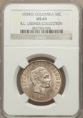 Colombia, Colombia: Republic 50 Centavos 1934-(S) MS64 NGC,...