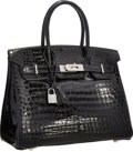 "Luxury Accessories:Bags, Hermes Extraordinary Collection 30cm Diamond, Shiny Black Porosus Crocodile Birkin Bag with 18K White Gold Hardware. 12"" W..."