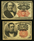 Fractional Currency:Fifth Issue, Fr. 1265 10¢ Fifth Issue. Fr. 1308 25¢ Fifth Issue.. ... (Total: 2notes)
