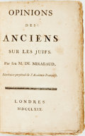 Books:Religion & Theology, Mirabaud, Jean-Baptiste de, [attrib.] or more likely, Baron Paul Heinrich Dietrich von Holbach. Opinions Des Anciens Sur...