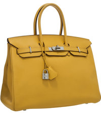Hermes 35cm Soleil Clemence Leather Birkin with Palladium Hardware Very Good to Excellent Condition