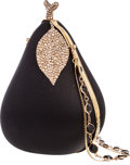 "Luxury Accessories:Bags, Kathrine Baumann Black Satin Pear Minaudiere Evening Bag withChampagne Crystals. Excellent Condition. 4"" Width x 5""H..."
